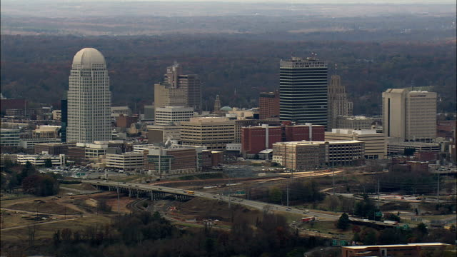 Approaching Winston Salem  - Aerial View - North Carolina,  Forsyth County,  United States