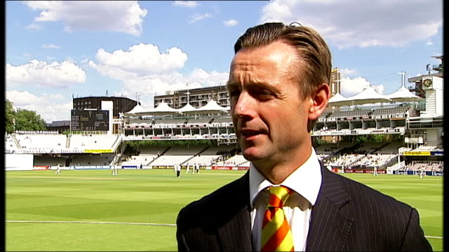 mcc approves kevin pietersen's 'switch hitting' technique london lords cricket ground john stephenson interview sot - channel 4 news stock videos & royalty-free footage