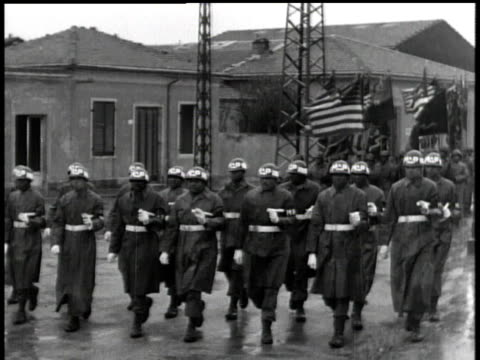 april 01 1944 ws soldiers carrying american flags marching down street / korea - korean war stock videos & royalty-free footage
