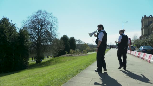 april 05, 2020 uk police move members of the public on at alexandra palace as the warm weather tests the nationwide lockdown to combat the novel... - moving image stock videos & royalty-free footage