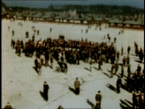 april 16 1945 ws buchenwald survivors standing in group / weimar thuringia germany - campo di concentramento di buchenwald video stock e b–roll