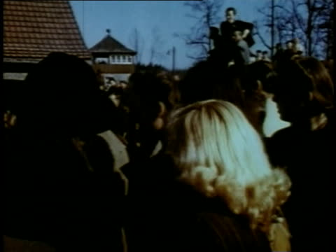 april 16, 1945 montage civilians and soldiers mingling in town / torgau, saxony, germany - saxony stock videos & royalty-free footage