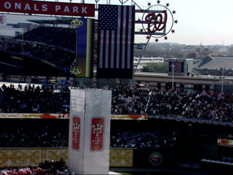 april 17 2008 ws crowd singing as pope benedict xvi is escorted into nationals park / washington dc united states - 2008 stock videos & royalty-free footage