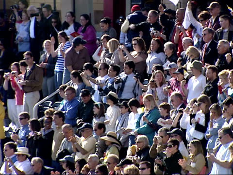 april 17 2008 montage cheering crowd greets pope benedict xvi upon his arrival at nationals park / washington dc united states - 2008 stock videos & royalty-free footage