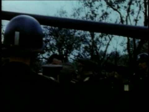april 19 1945 montage soldiers gathering and officers talking next to tanks / torgau saxony germany - anno 1945 video stock e b–roll