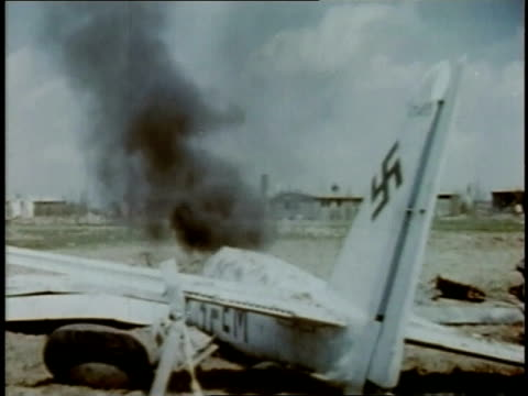 april 20 1945 ms crashed bomber burning and smoking on ground next to road / torgau saxony germany - explosive stock videos & royalty-free footage