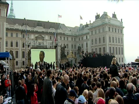 april 2009 u.s. president barack obama delivering speech to crowd in prague/ czech republic/ audio - large scale screen stock videos & royalty-free footage