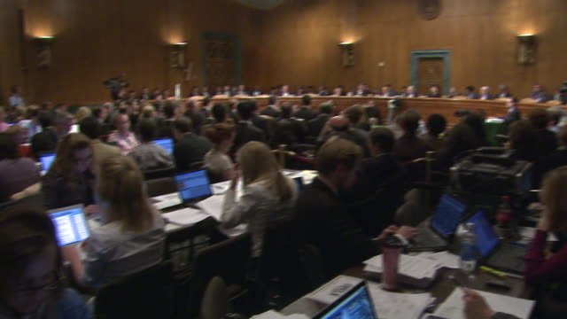 april 23 2010 pan a hearing on the 2008 stock market crash being held before an audience and reporters typing into laptops at the capitol /... - house of representatives stock videos & royalty-free footage