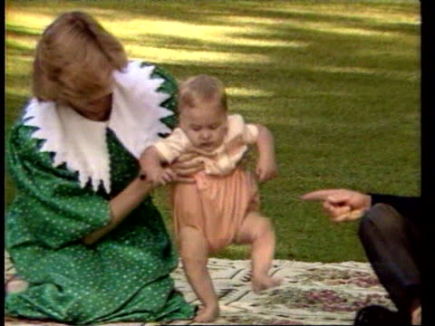 april 24 1983 ms zo princess diana playing with prince william on a blanket as prince charles sits next to them during a photocall/ ms prince... - 1983 stock videos & royalty-free footage