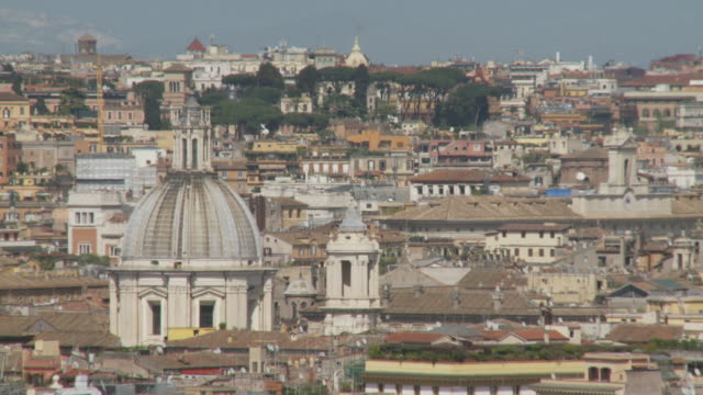 april 24, 2006 montage view of the city of rome from hillside / italy - fairground stall stock videos & royalty-free footage