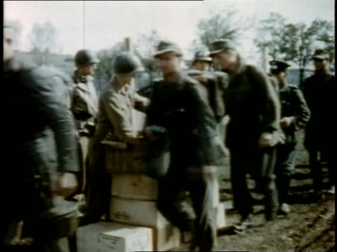 april 26, 1945 rations being handed out to soldiers / torgau, saxony, germany - saxony stock videos & royalty-free footage