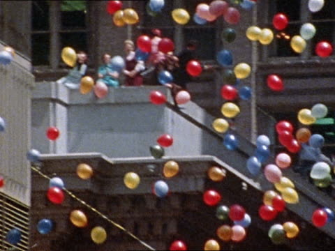 April 27 1973 balloons in ticker tape parade for Vietnam War POWs / San Francisco