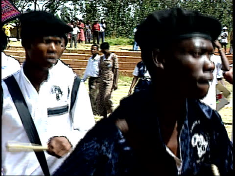 april 27 1994 ts drummers perform during the first allrace election / johannesburg gauteng south africa - 1994 stock-videos und b-roll-filmmaterial
