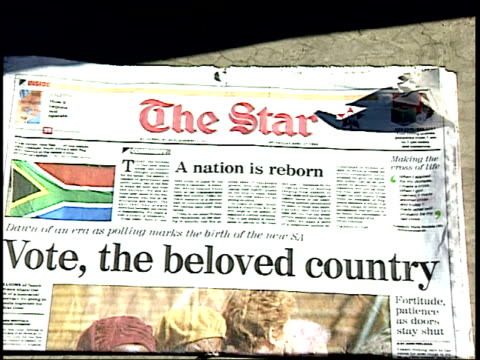 april 27 1994 pan soweto newspaper headlines during the first allrace election / johannesburg gauteng south africa - anno 1994 video stock e b–roll