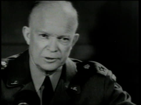 april 5 1951 cu general eisenhower speaking about new nato headquarters / paris france - nato stock videos & royalty-free footage