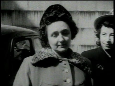 april 5 1951 montage ethel rosenberg being brought to the federal building / new york city new york united states - ethel rosenberg stock videos & royalty-free footage