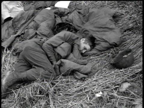 april 7, 1951 montage soldier sleeping on ground / korea - 1951 stock videos & royalty-free footage