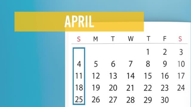 vídeos y material grabado en eventos de stock de 2021 calendario convirtiendo la animación de la página contra el fondo amarillo en resolución 4k - calendario