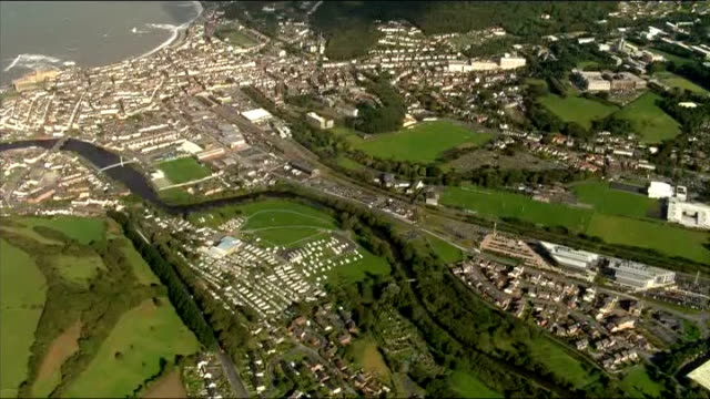 aerials of aberystwyth and machynlleth wales aberystwyth of buildings including aberystwyth railway station and aberystwyth police station - aberystwyth stock videos & royalty-free footage