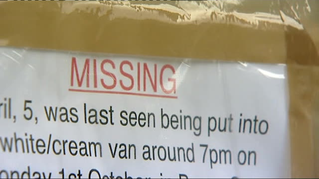 mark bridger arrested and questioned notice board in village close shot of 'missing' poster - missing poster stock videos & royalty-free footage