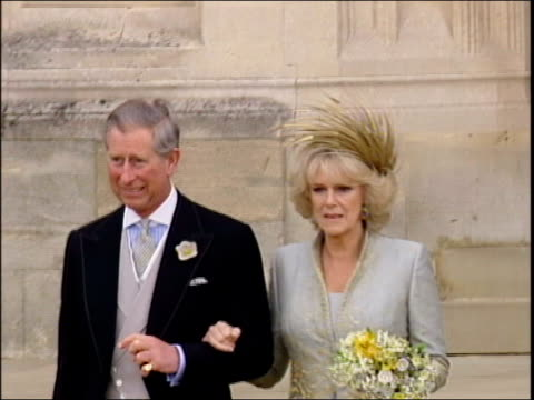 april royal wedding in 2005 berkshire windsor prince charles prince of wales down steps of st george's chapel after marriage to camilla duchess of... - 2005 stock videos and b-roll footage