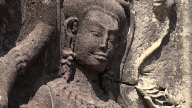 zo / apsara relief at angkor wat temple - cambodian culture stock videos and b-roll footage