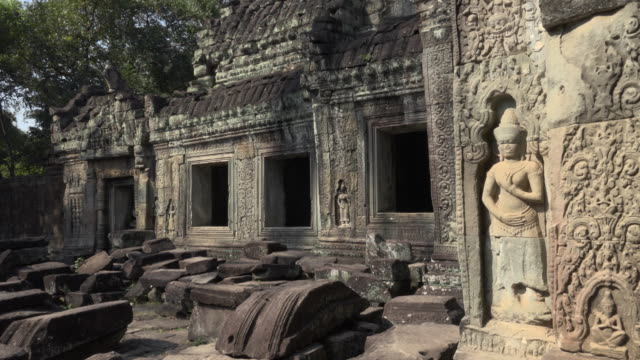 apsara relief at preah khan temple - female likeness stock videos & royalty-free footage