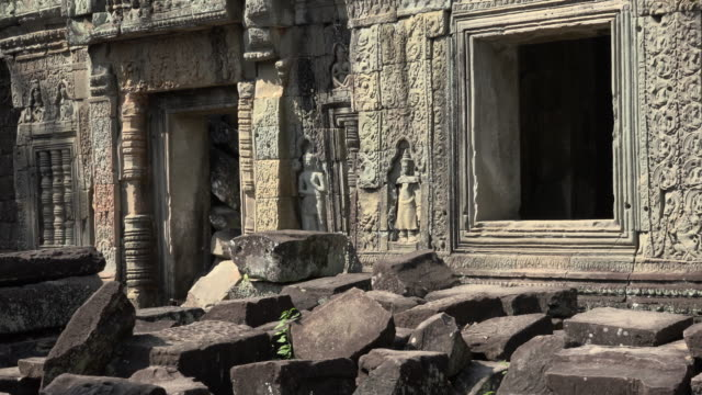 zo / apsara relief at preah khan temple - cambodian culture stock videos and b-roll footage