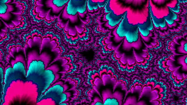 aqua and violet psychedelic fractal background like floral petal - floral pattern stock videos & royalty-free footage