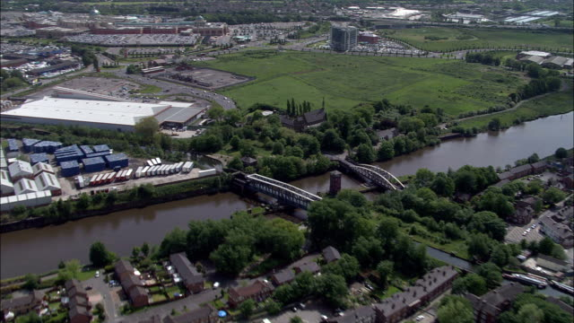 aquaduct crossing at manchester ship canal  - aerial view - england, warrington, united kingdom - manchester england stock videos & royalty-free footage