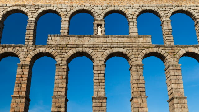 aqueduct of segovia - aqueduct stock videos and b-roll footage