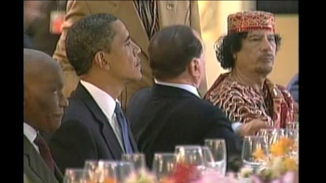 barack obama silvio berlusconi and colonel gaddafi sitting at g8 summit meeting - muammar gaddafi stock videos & royalty-free footage