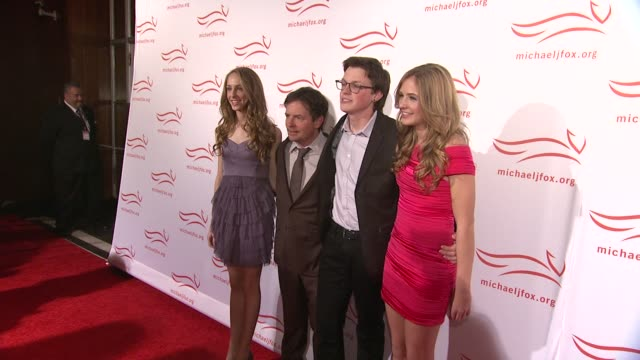 aquinnah fox michael j foxsam fox and schuyler fox at the 2011 a funny thing happened on the way to cure parkinson's red carpet at new york ny - michael j. fox stock videos and b-roll footage