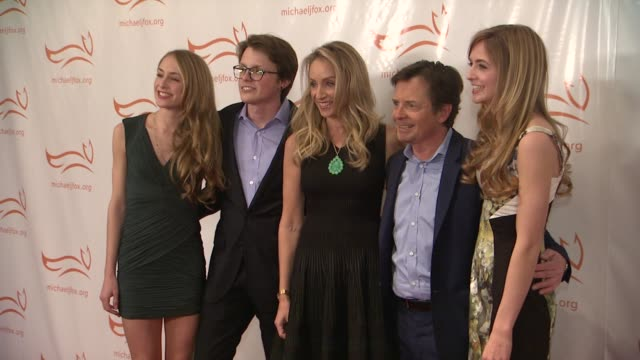 aquinnah fox sam fox tracy pollan michael j fox and schuyler fox at a funny thing happened on the way to cure parkinsons at the waldorf astoria hotel... - michael j. fox stock videos and b-roll footage