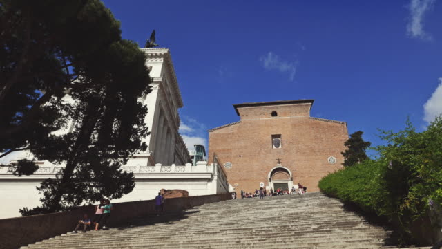 ara coeli church steps in rome - basilica video stock e b–roll