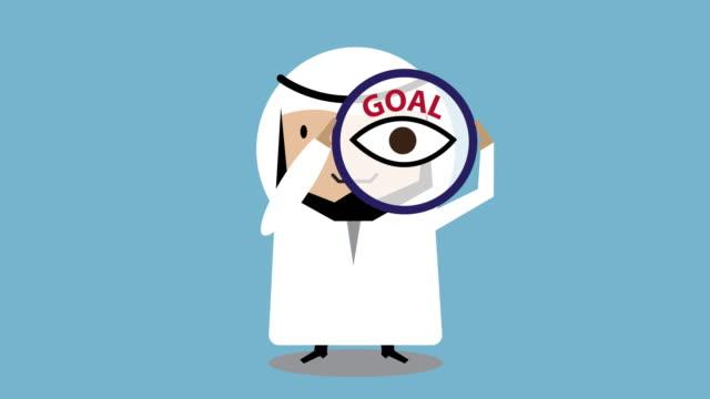 vídeos de stock e filmes b-roll de arab businessmen determination animation 4k loop movement - parte superior