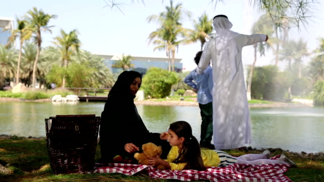 arab family enjoying their leisure time in picnic - saudi arabia stock videos & royalty-free footage