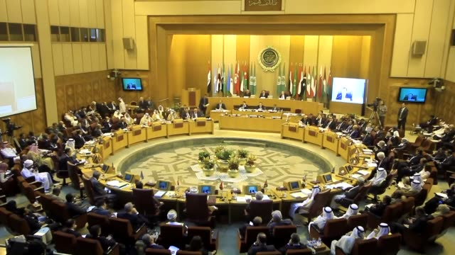 arab foreign ministers attend the 146th session of the arab league foreign ministers' council at the arab league headquarters in cairo, egypt, on... - 年次総会点の映像素材/bロール