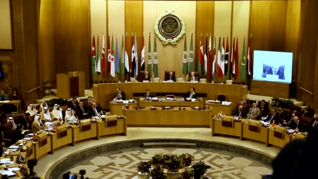 arab foreign ministers attend the 147th arab league council session at the arab league headquarters in cairo, egypt on march 07, 2017. arab league... - annual general meeting stock videos & royalty-free footage
