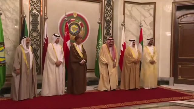 arab gulf leaders pose for a photo in riyadh during the gulf cooperation council summit as crises brew over a bitter diplomatic dispute with qatar... - persian gulf countries stock videos & royalty-free footage