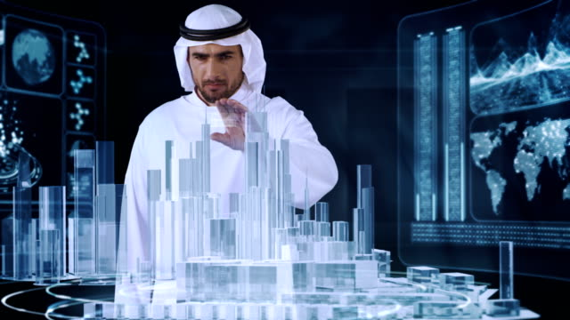 Arab in traditional clothing working with virtual reality. Urban architecture designing