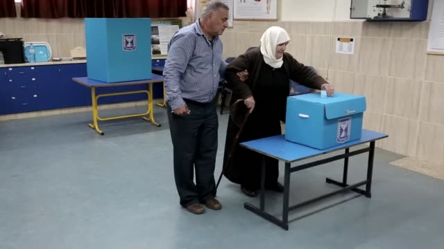 arab israelis formed long lines outside polling stations tuesday as they turned out to cast their ballots hoping to end the sixyear reign of prime... - haifa video stock e b–roll
