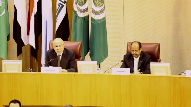 Arab League Secretary General Ahmed Aboul Gheit makes a speech during an Arab League foreign ministers meeting to continue discussions on a potential...