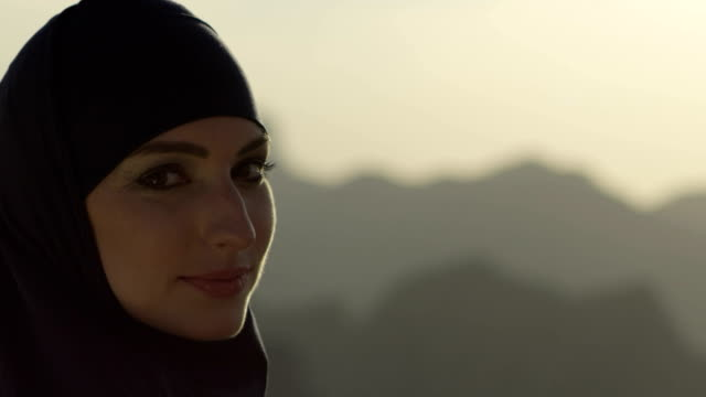 arab saudi emirates woman portrait - film camera stock videos & royalty-free footage