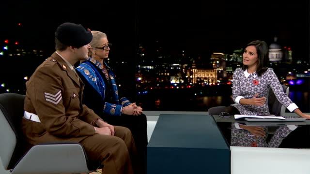 arabella dawson opens 'before the dawn' exhibition depicting the war in afghanistan arabella dorman interview sot that is commemorative / tribute to... - 2001年~ アフガニスタン紛争点の映像素材/bロール