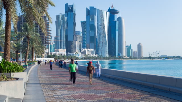ws t/l arabian peninsula and west bay central finacial district / doha, qatar - qatar stock videos & royalty-free footage