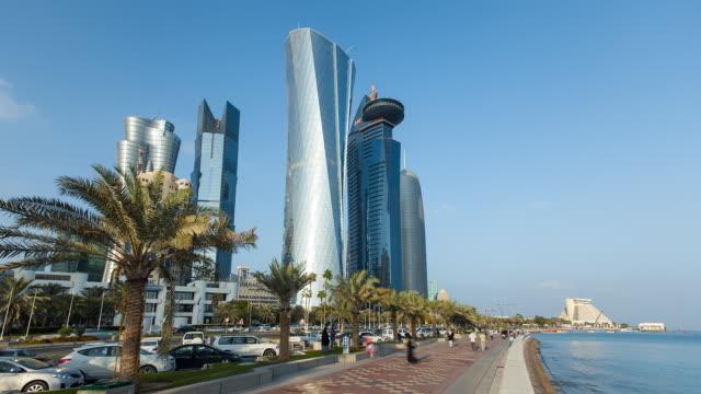 vídeos y material grabado en eventos de stock de ws t/l arabian peninsula and west bay central finacial district / doha, qatar - doha