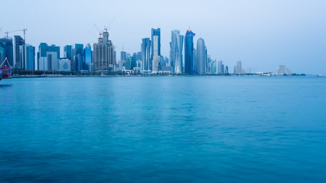 ws t/l arabian peninsula and west bay central finacial district / doha, qatar - doha stock videos & royalty-free footage