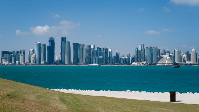 ws t/l arabian peninsula and west bay central finacial district / doha, qatar - ad dawhah stock-videos und b-roll-filmmaterial
