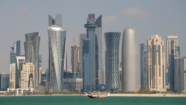 arabian peninsula and west bay central finacial district,doha, qatar, middle east - doha stock videos & royalty-free footage
